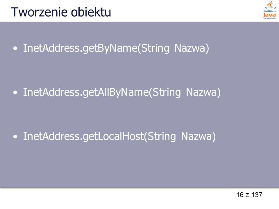 Tworzenie obiektu InetAddress.getByName(String Nazwa)