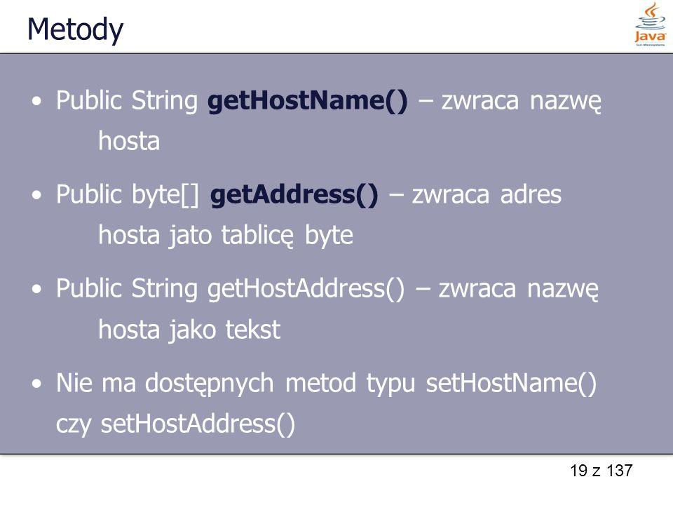 Metody Public String getHostName() – zwraca nazwę hosta