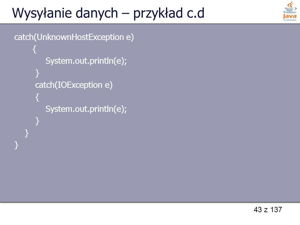 Wysyłanie danych – przykład c.d