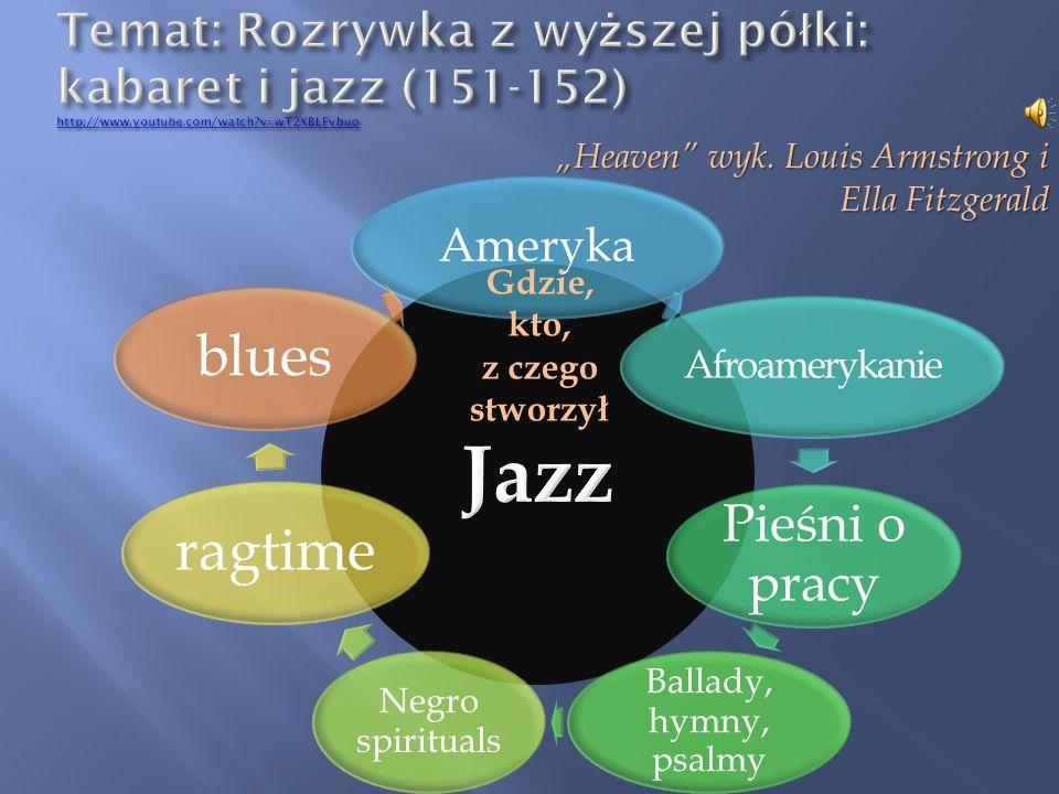 Temat: Rozrywka z wyższej półki: kabaret i jazz (151-152) http://www