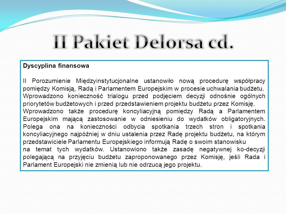 II Pakiet Delorsa cd. Dyscyplina finansowa