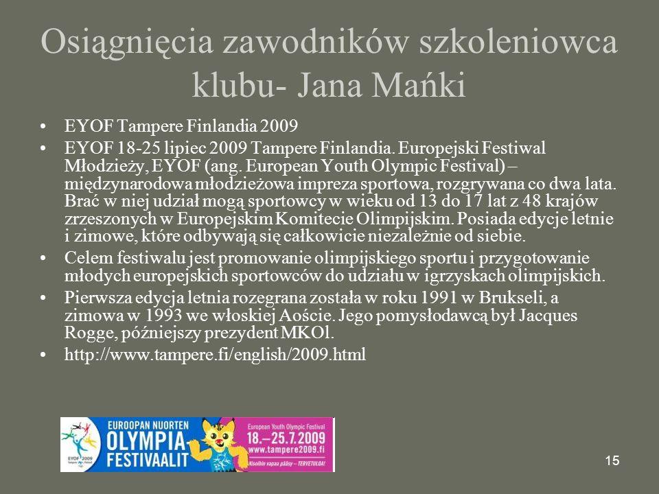 Osiągnięcia zawodników szkoleniowca klubu- Jana Mańki