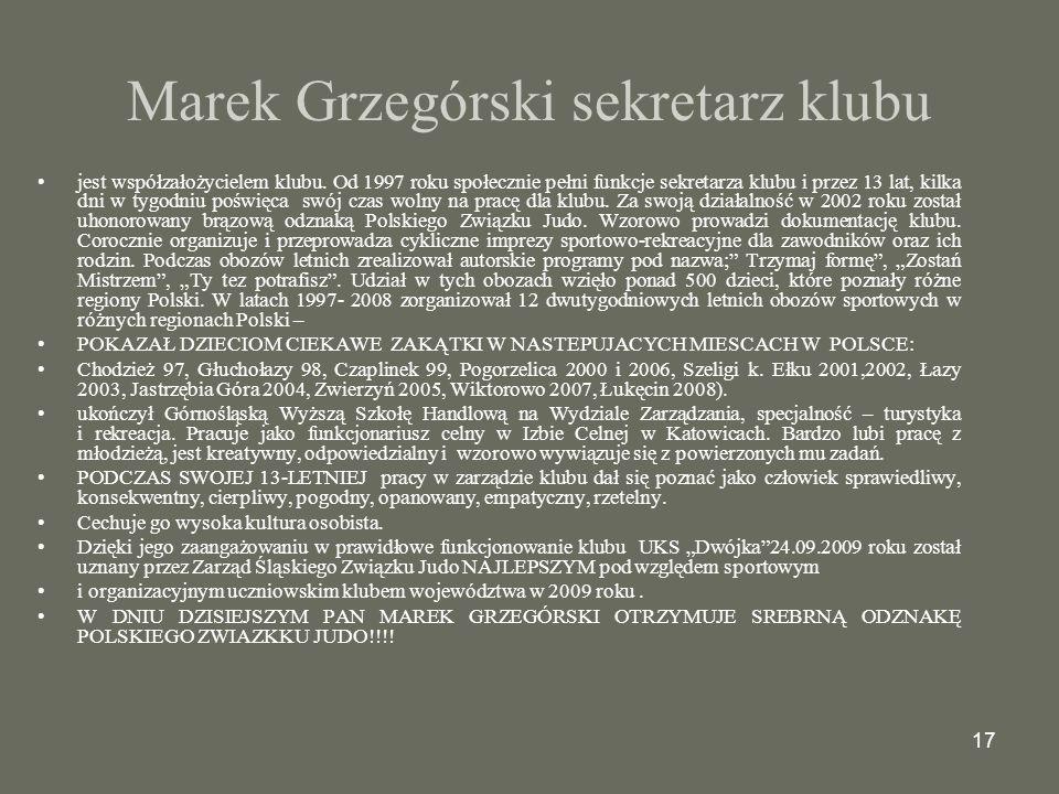 Marek Grzegórski sekretarz klubu