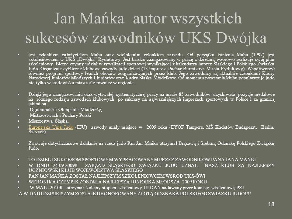 Jan Mańka autor wszystkich sukcesów zawodników UKS Dwójka