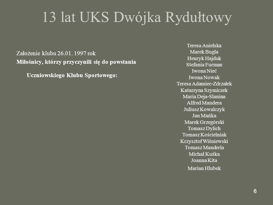 13 lat UKS Dwójka Rydułtowy