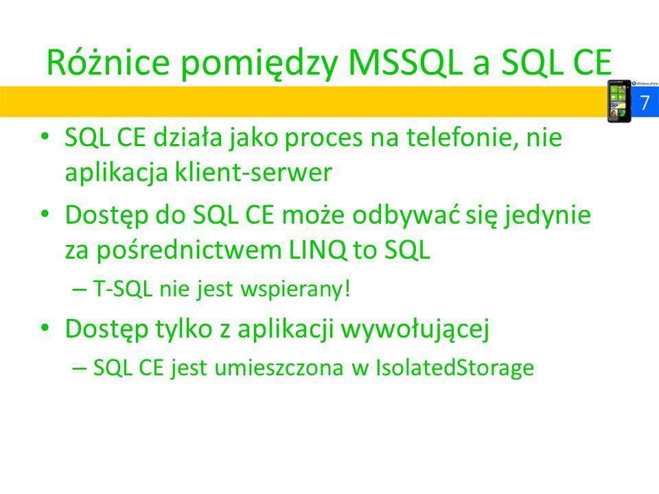 Różnice pomiędzy MSSQL a SQL CE