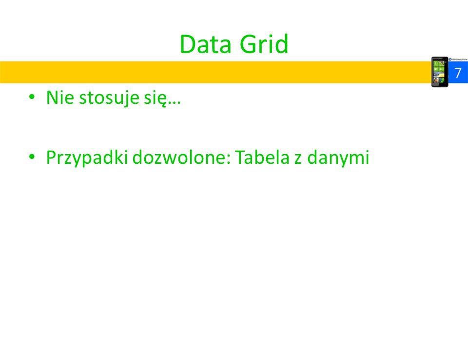 Data Grid Nie stosuje się… Przypadki dozwolone: Tabela z danymi