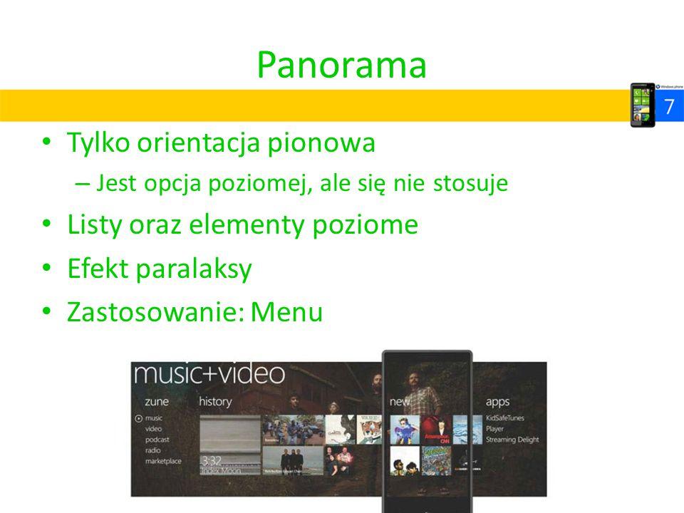 Panorama Tylko orientacja pionowa Listy oraz elementy poziome