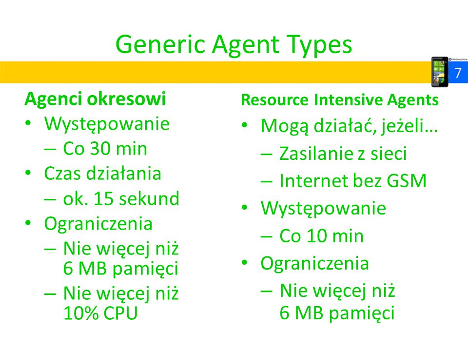 Generic Agent Types Agenci okresowi Występowanie Mogą działać, jeżeli…