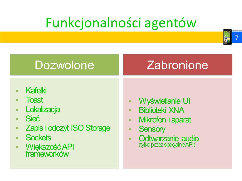 Funkcjonalności agentów