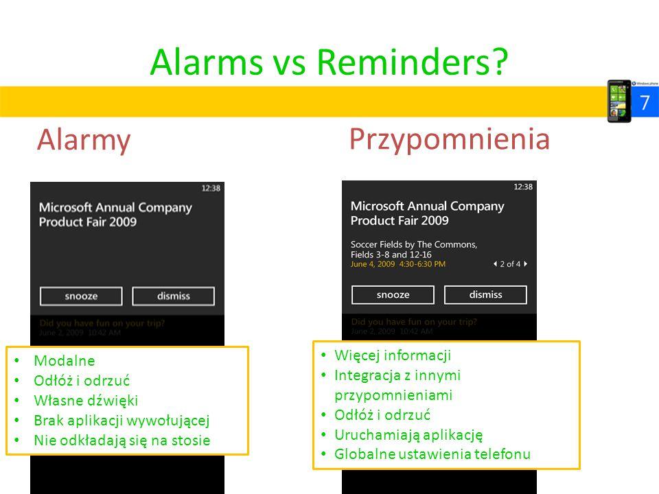 Alarms vs Reminders Przypomnienia Alarmy Więcej informacji Modalne