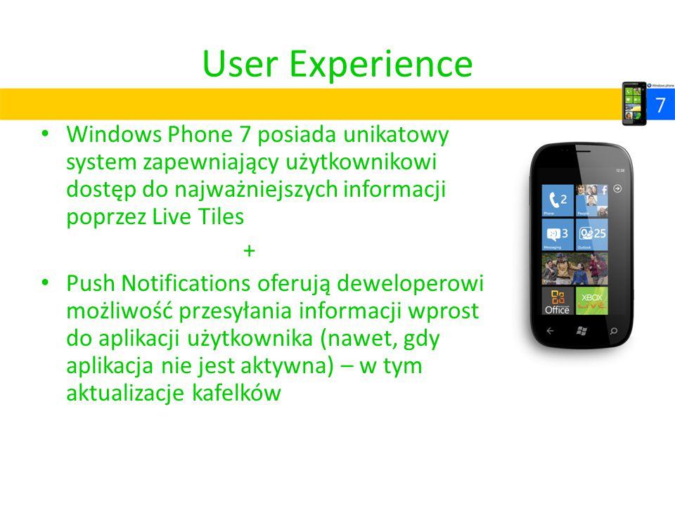 User Experience Windows Phone 7 posiada unikatowy system zapewniający użytkownikowi dostęp do najważniejszych informacji poprzez Live Tiles.