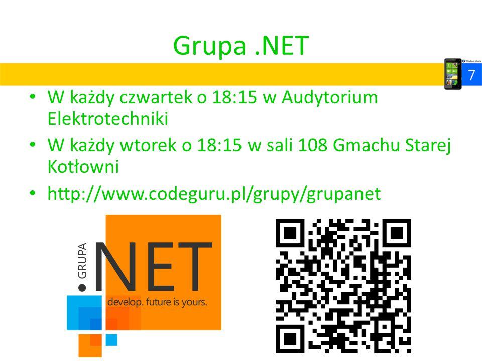 Grupa .NET W każdy czwartek o 18:15 w Audytorium Elektrotechniki