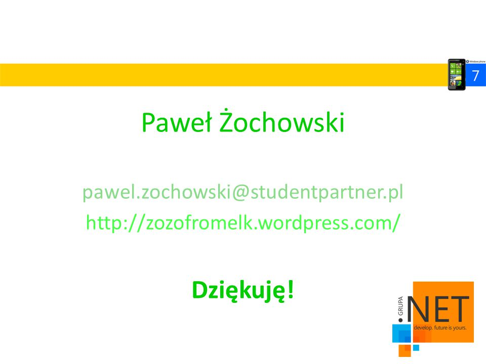 Paweł Żochowski Dziękuję! pawel.zochowski@studentpartner.pl