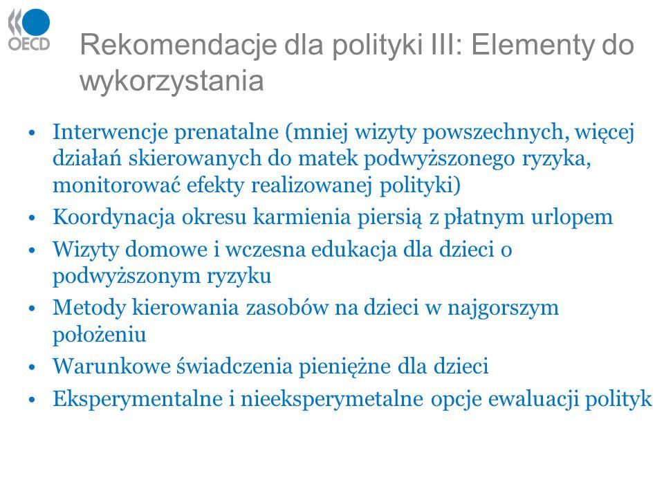 Rekomendacje dla polityki III: Elementy do wykorzystania