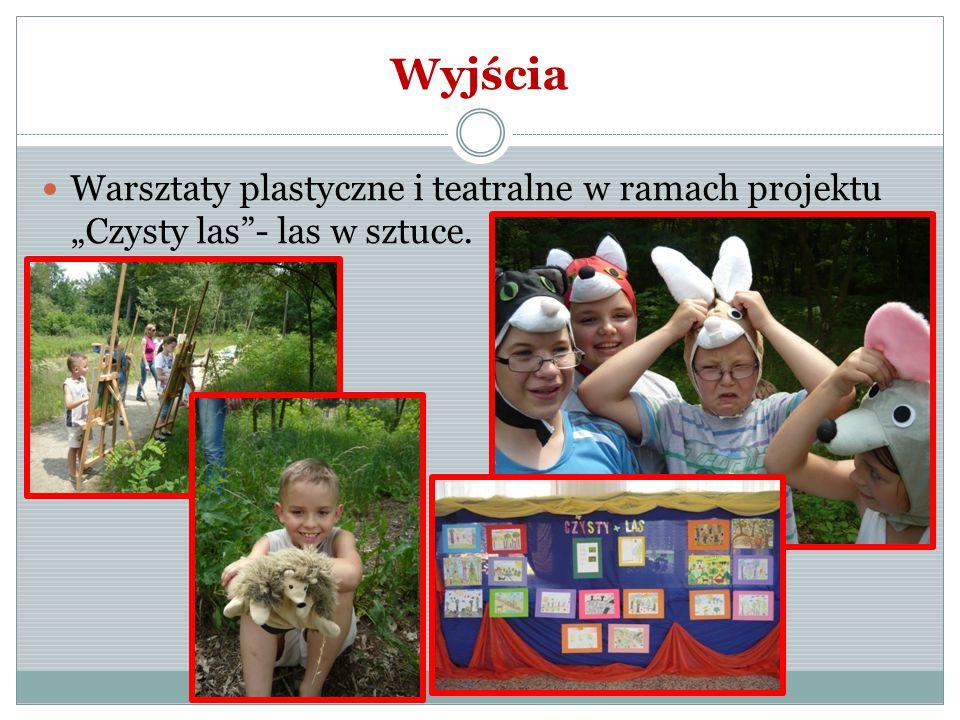 """Wyjścia Warsztaty plastyczne i teatralne w ramach projektu """"Czysty las - las w sztuce."""