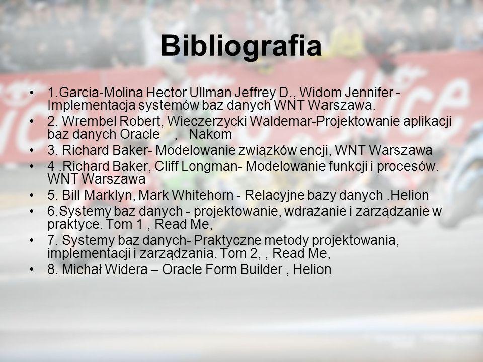 Bibliografia 1.Garcia-Molina Hector Ullman Jeffrey D., Widom Jennifer -Implementacja systemów baz danych WNT Warszawa.