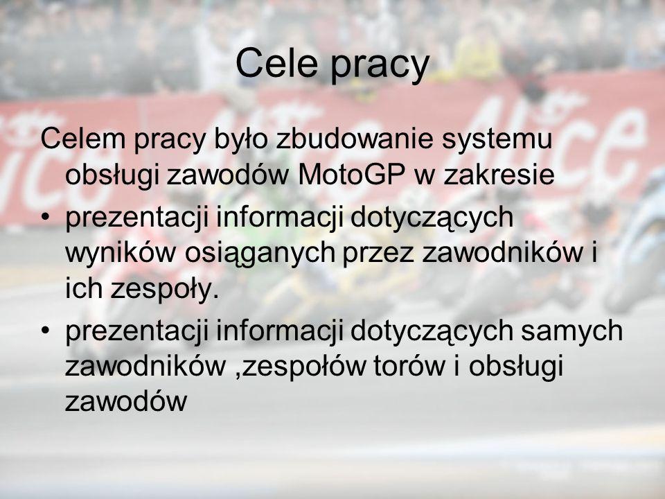 Cele pracy Celem pracy było zbudowanie systemu obsługi zawodów MotoGP w zakresie.
