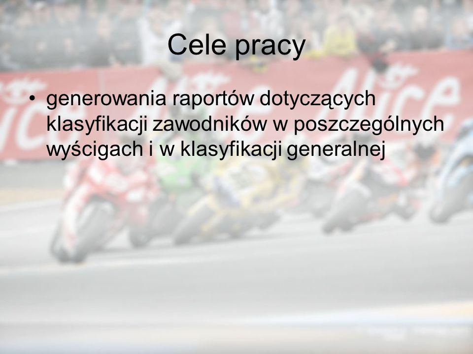 Cele pracy generowania raportów dotyczących klasyfikacji zawodników w poszczególnych wyścigach i w klasyfikacji generalnej.