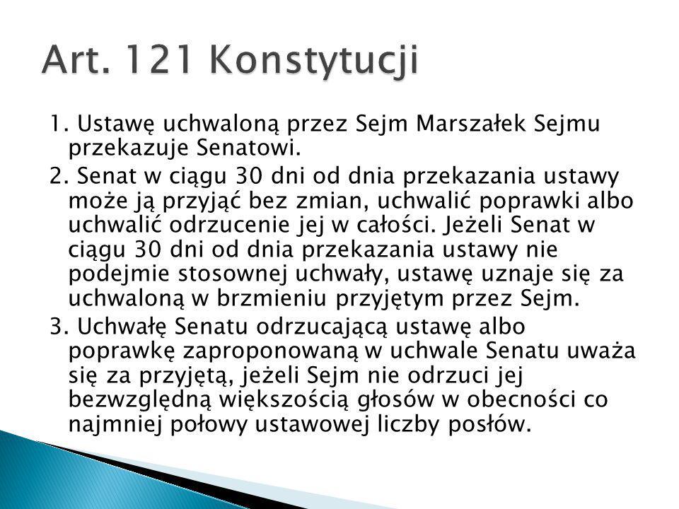 Art. 121 Konstytucji 1. Ustawę uchwaloną przez Sejm Marszałek Sejmu przekazuje Senatowi.
