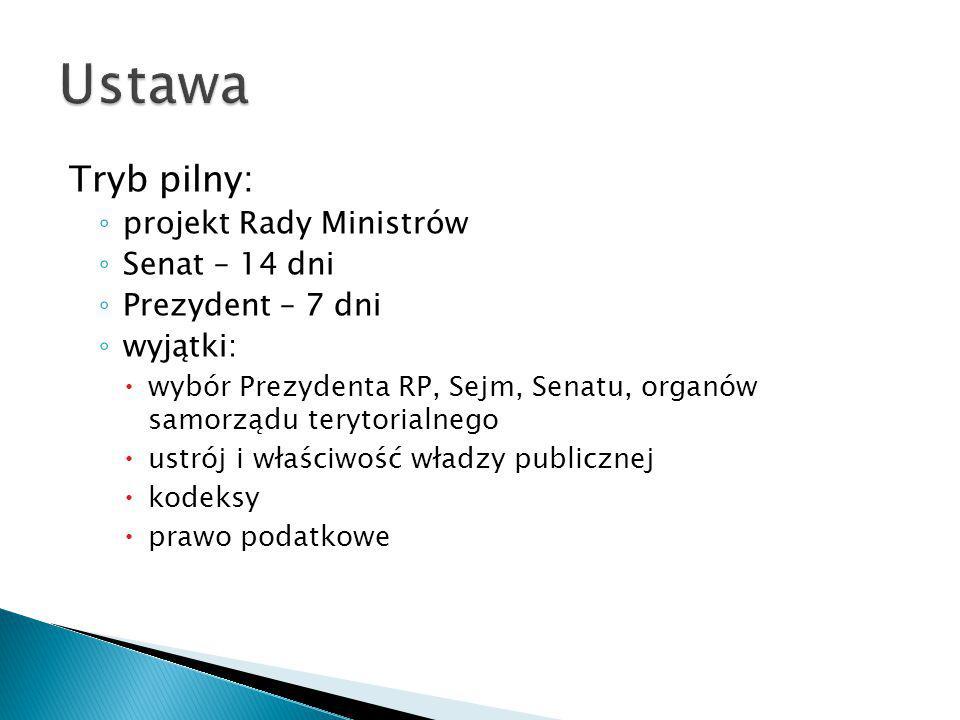 Ustawa Tryb pilny: projekt Rady Ministrów Senat – 14 dni