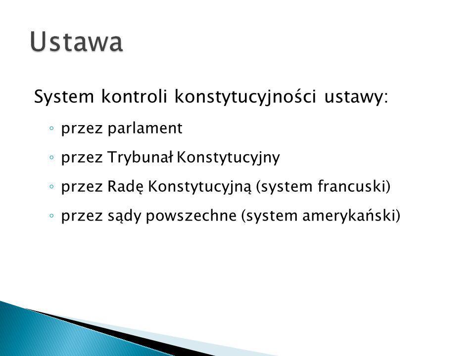 Ustawa System kontroli konstytucyjności ustawy: przez parlament