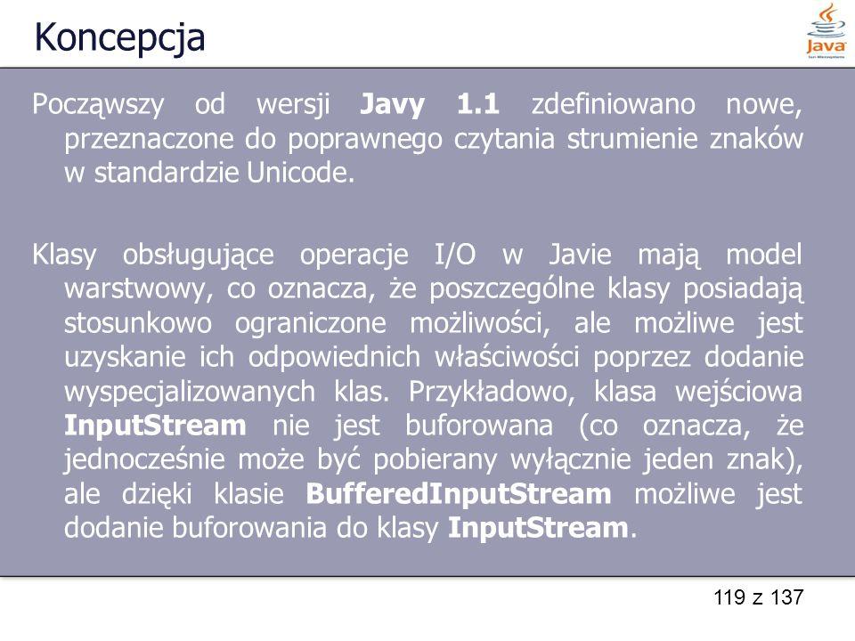 Koncepcja Począwszy od wersji Javy 1.1 zdefiniowano nowe, przeznaczone do poprawnego czytania strumienie znaków w standardzie Unicode.