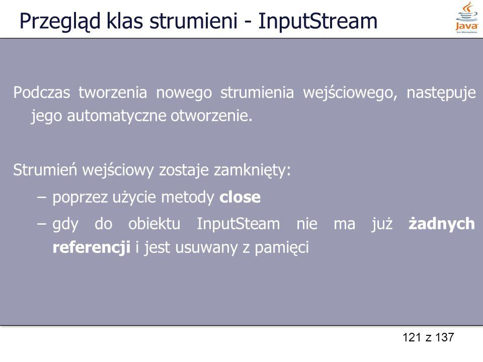 Przegląd klas strumieni - InputStream