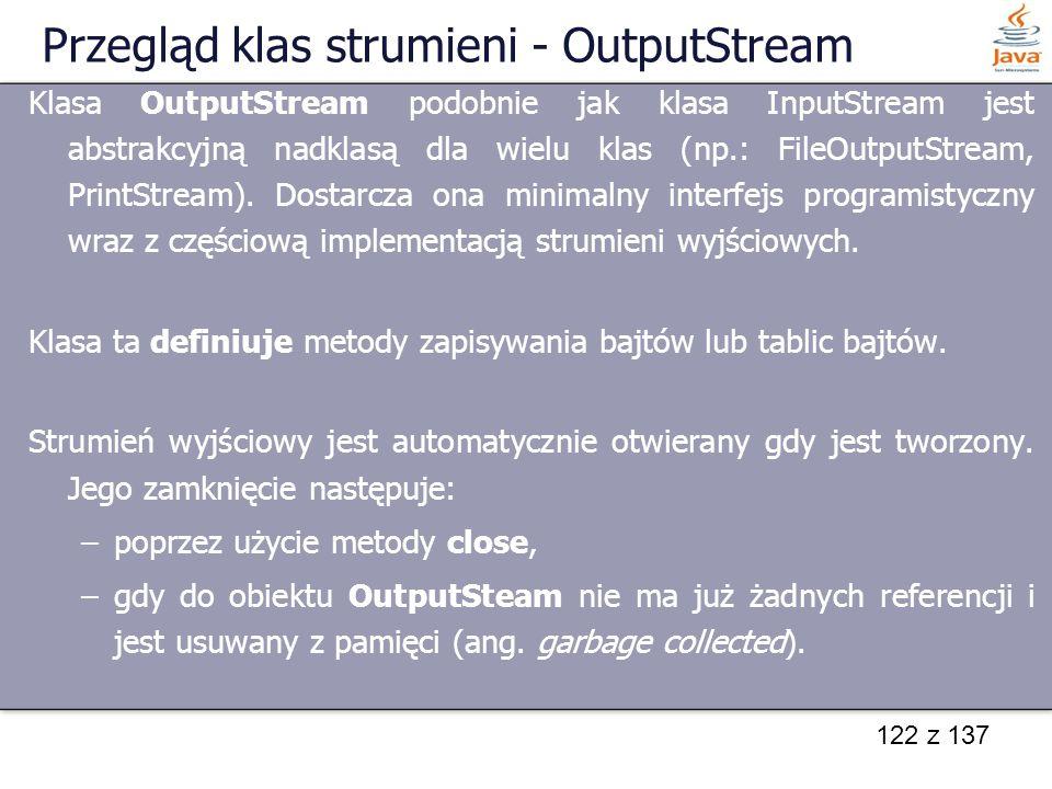 Przegląd klas strumieni - OutputStream