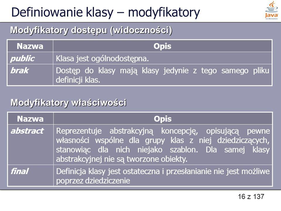 Definiowanie klasy – modyfikatory