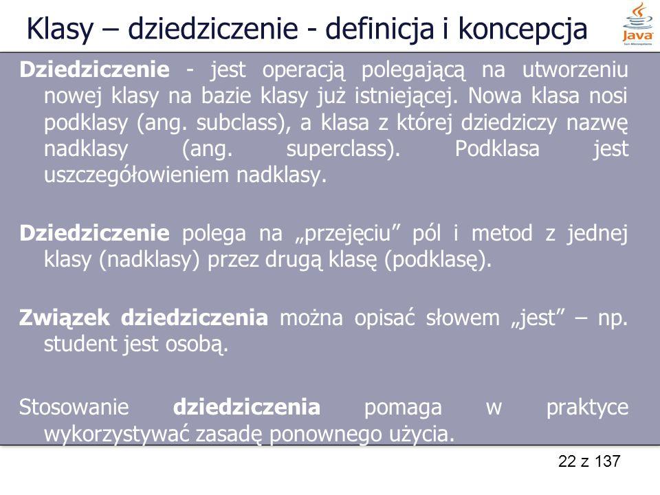 Klasy – dziedziczenie - definicja i koncepcja