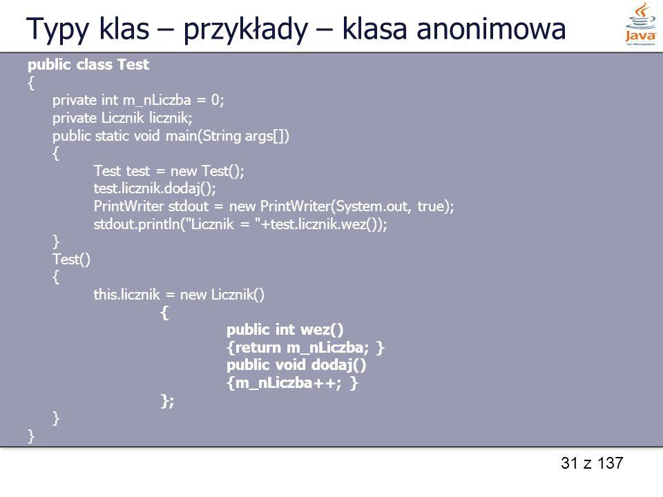 Typy klas – przykłady – klasa anonimowa