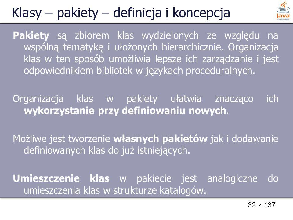 Klasy – pakiety – definicja i koncepcja