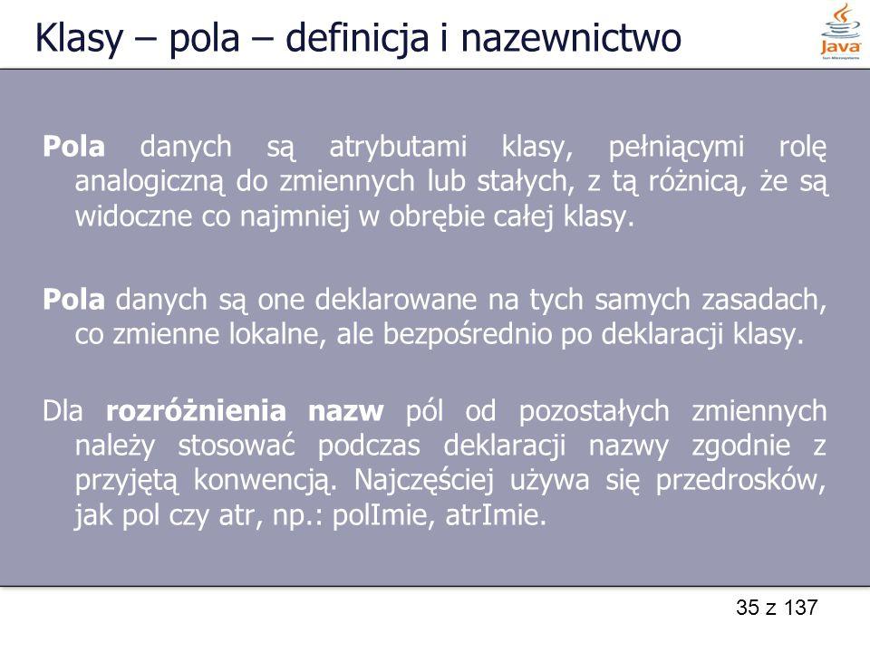Klasy – pola – definicja i nazewnictwo