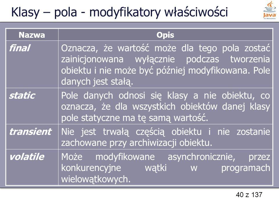 Klasy – pola - modyfikatory właściwości