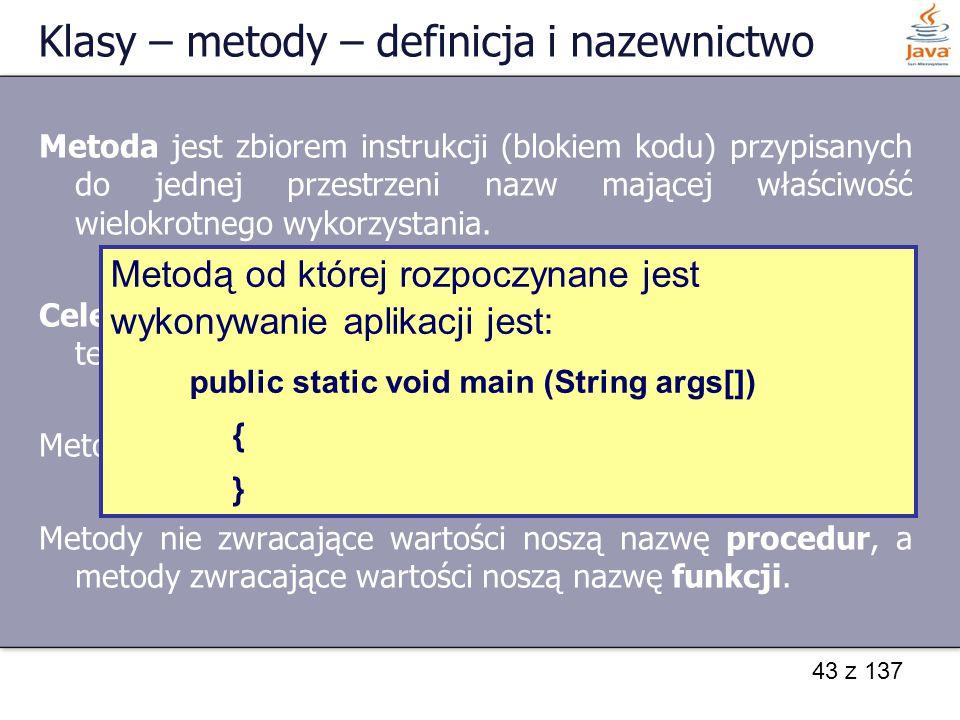 Klasy – metody – definicja i nazewnictwo