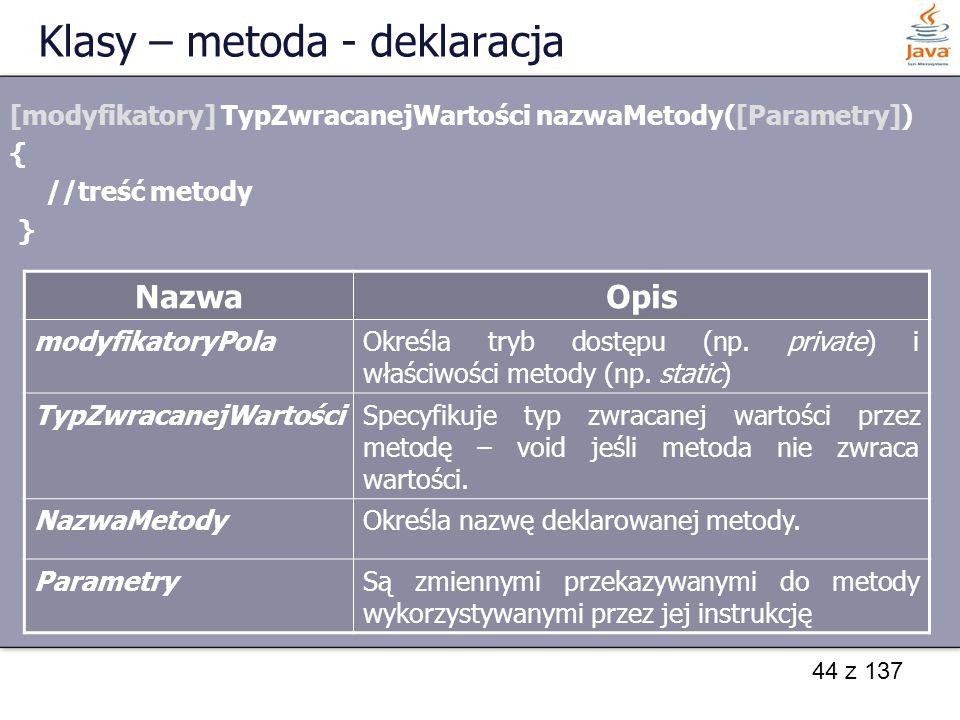 Klasy – metoda - deklaracja
