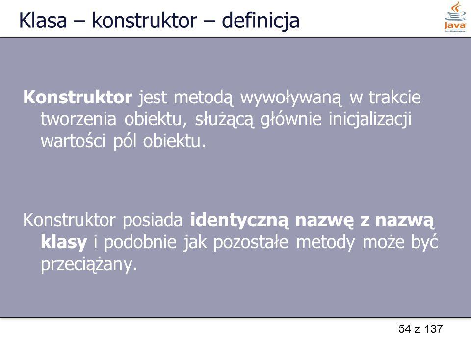 Klasa – konstruktor – definicja