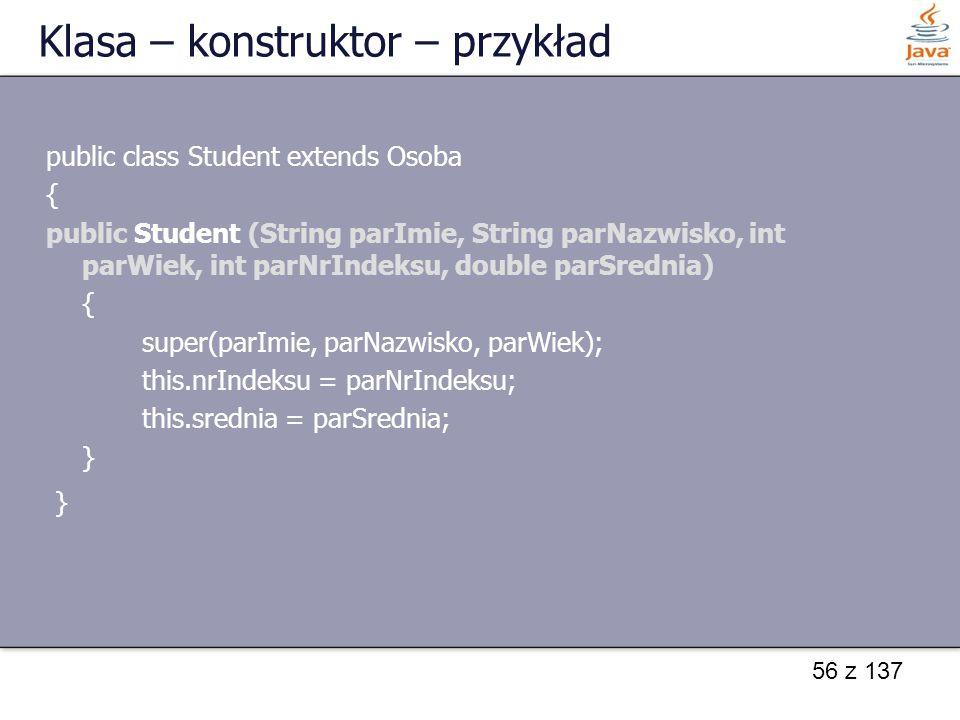 Klasa – konstruktor – przykład