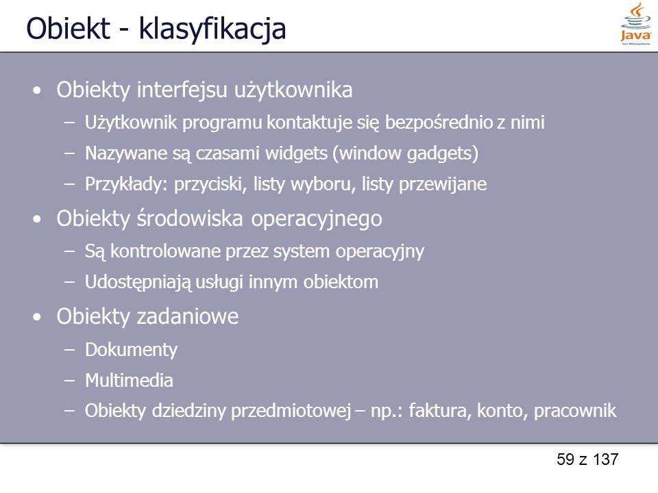 Obiekt - klasyfikacja Obiekty interfejsu użytkownika