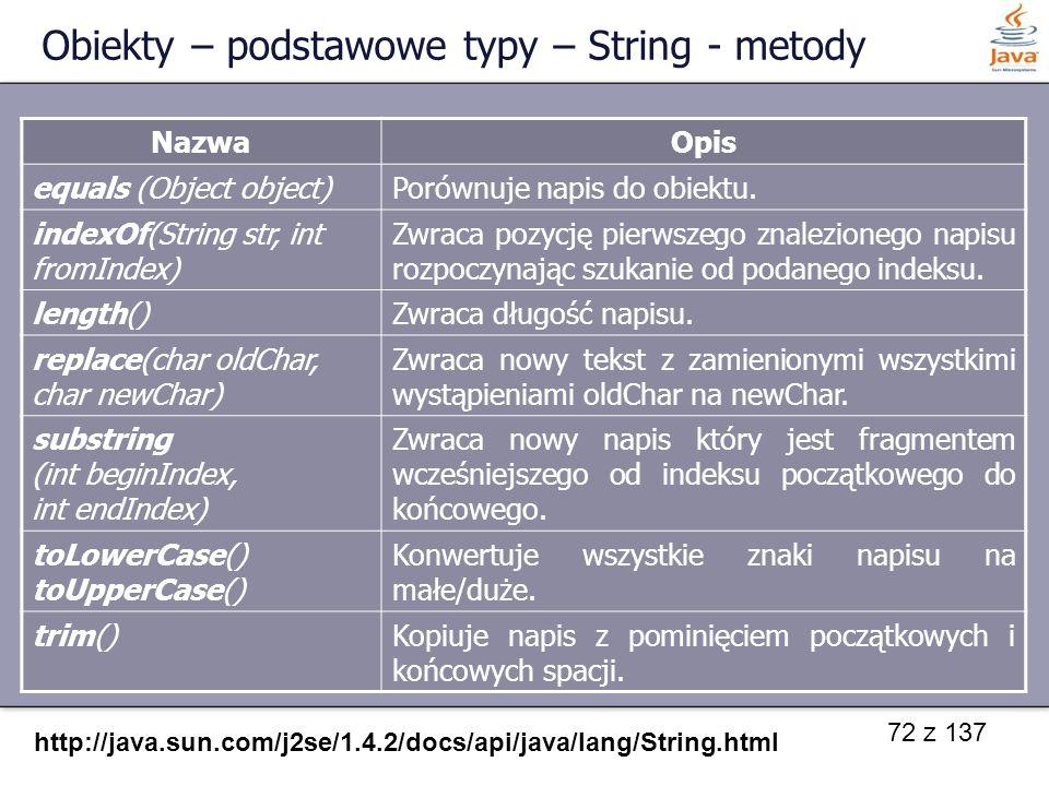 Obiekty – podstawowe typy – String - metody