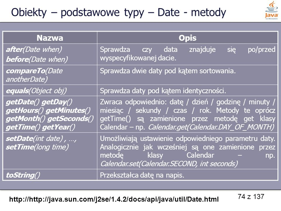 Obiekty – podstawowe typy – Date - metody