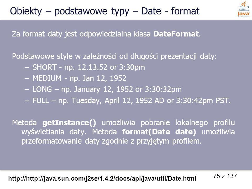 Obiekty – podstawowe typy – Date - format