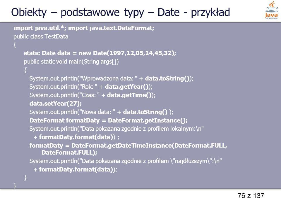 Obiekty – podstawowe typy – Date - przykład