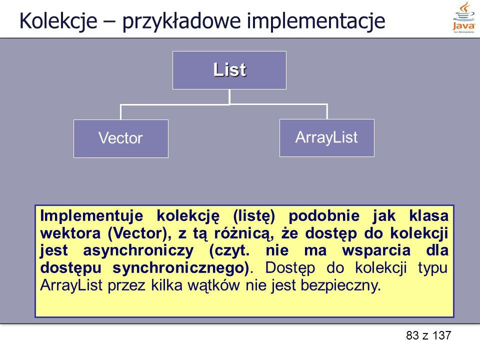 Kolekcje – przykładowe implementacje