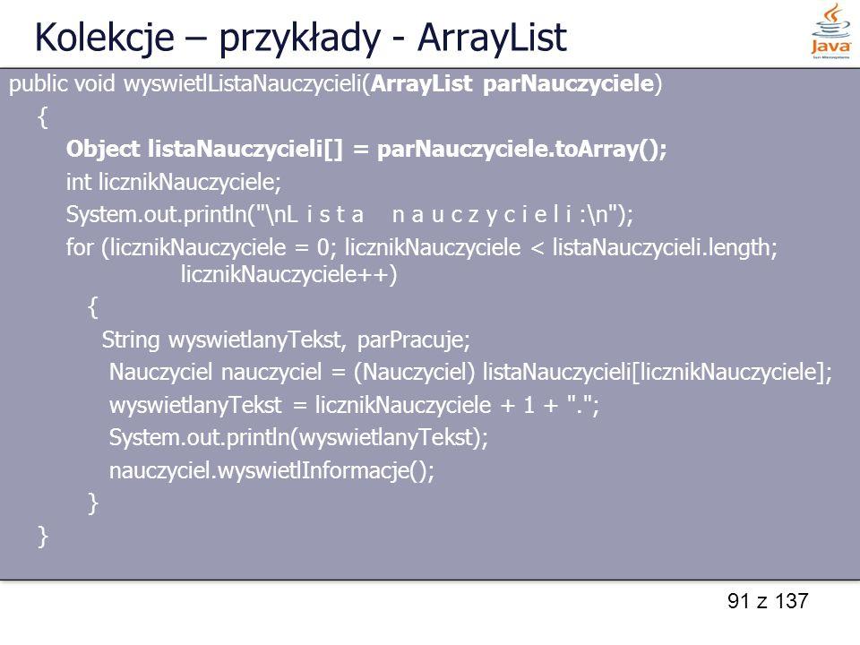 Kolekcje – przykłady - ArrayList
