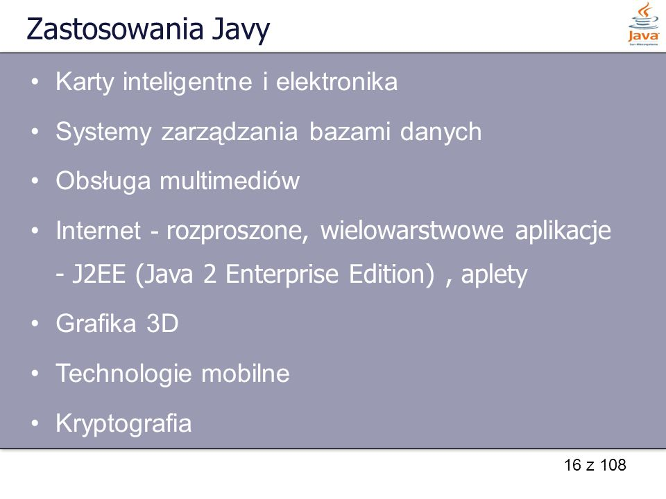 Zastosowania Javy Karty inteligentne i elektronika
