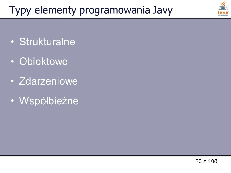 Typy elementy programowania Javy