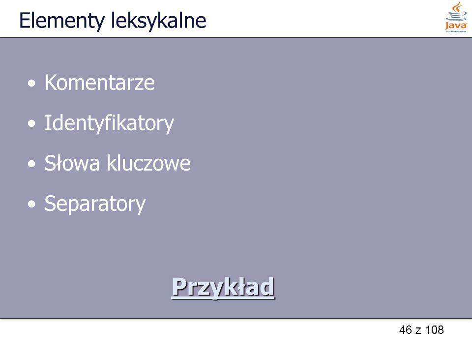 Przykład Elementy leksykalne Komentarze Identyfikatory Słowa kluczowe