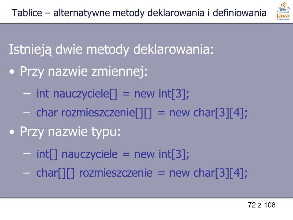 Tablice – alternatywne metody deklarowania i definiowania